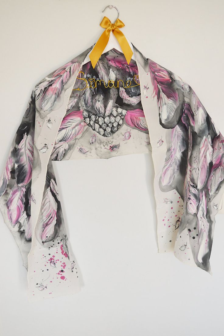 Wings scarf. Hand painted silk scarf. Pink wings. Bird wings scarf. Ready to ship by SEscarves on Etsy