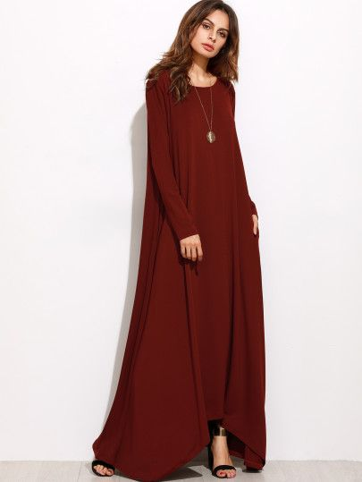 Shop Burgundy Long Sleeve Shift Maxi Dress online. SheIn offers Burgundy Long Sleeve Shift Maxi Dress & more to fit your fashionable needs.