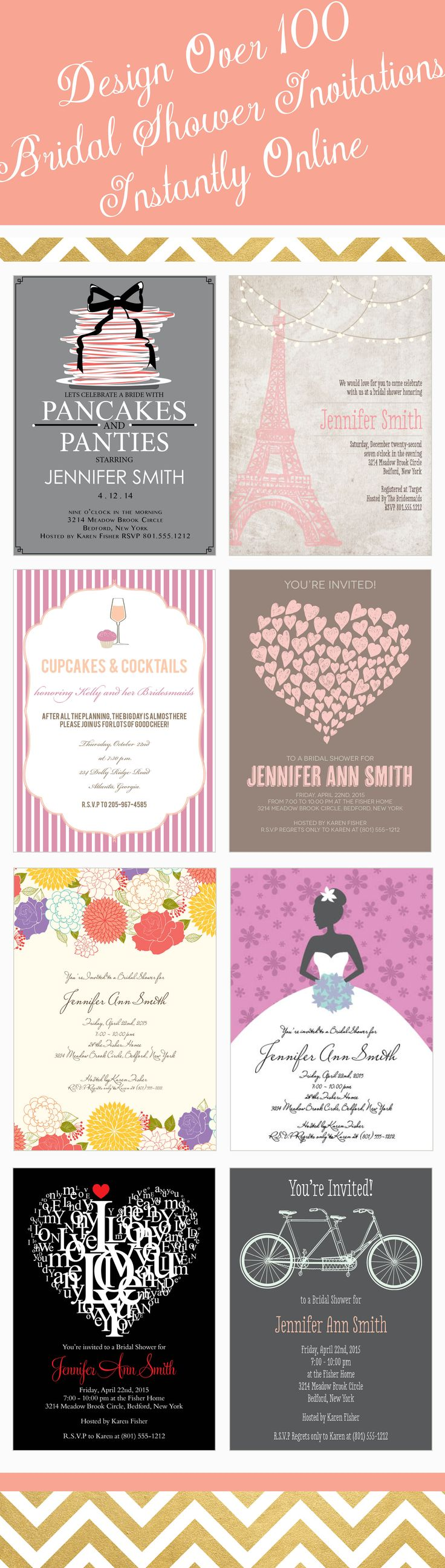recipe themed bridal shower invitation wording%0A Trendy bridal shower design that can be instantly customized with over      different color options and