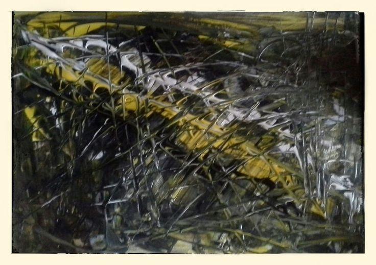 Die Kreise sollen sich verändern, immer noch im Chaos, aber als Striche. Gelb, Schwarz und Weiß bleiben als Farben #acryl #dufthuhn.de