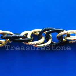 Chain, aluminum, gold-black,15x19mm oval cable.