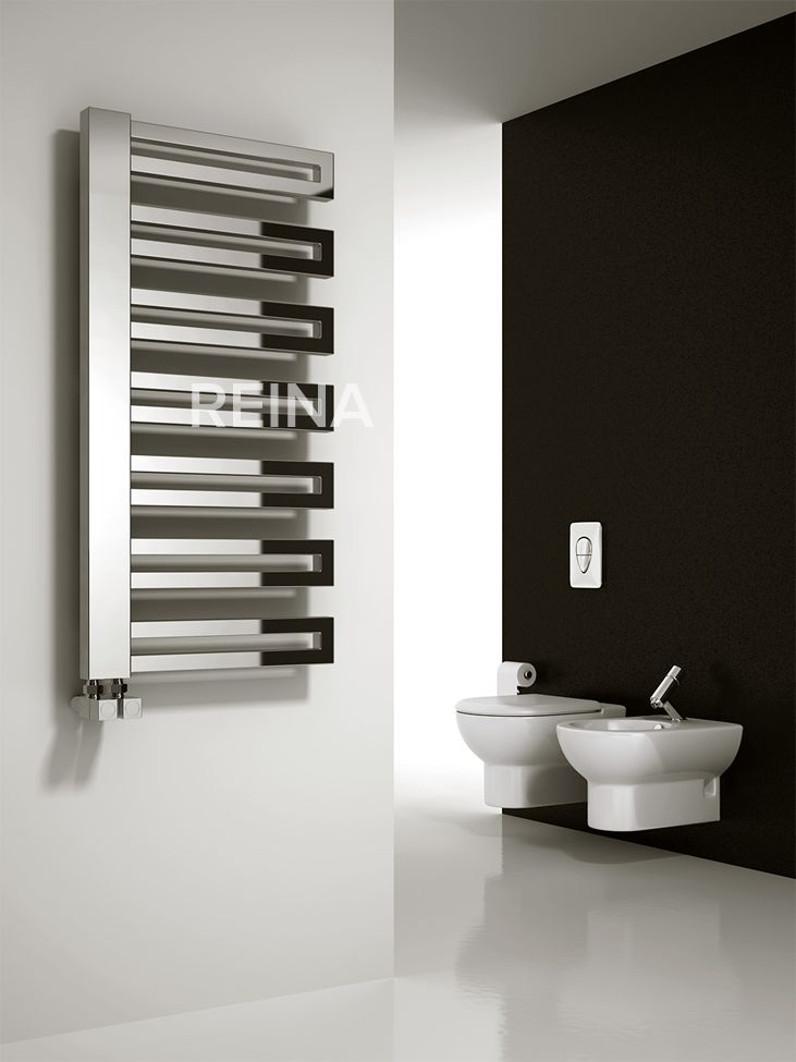 The Reina Ginosa heated towel rail is finished in a high chrome finish. It has arms that will go to the left or the right. This product is also available with the option of a dual fuel heating element & electric only option. The dual fuel operates via an electric supply when your central heating is turned off in the summer months, electric only available upon request. Comes complete with a 5 year guarantee, 1 year guarantee on dual fuel or electric. Priced at £225.00!