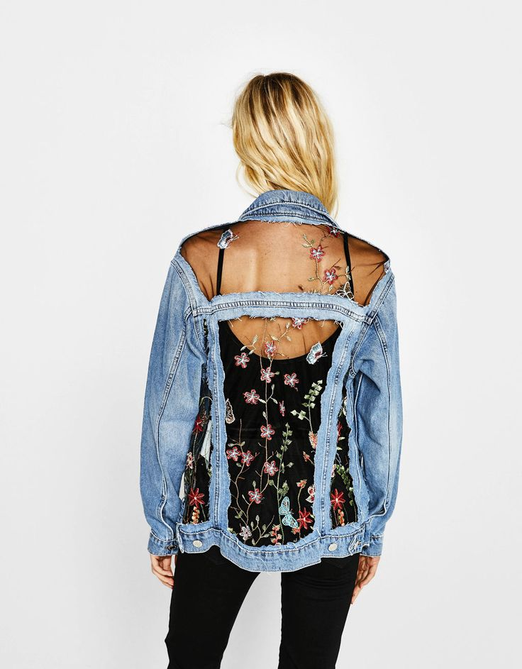 Floral embroidered tulle and denim jacket. Discover this and many more items in Bershka with new products every week
