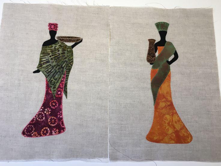 Afrikanske kvinder syet af min kursist Elisabeth Melgaard hos Speich Design i foråret 2017.