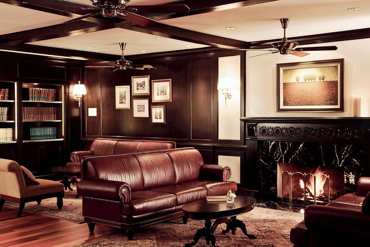 Lounge Living room Classy Leather Wood Books
