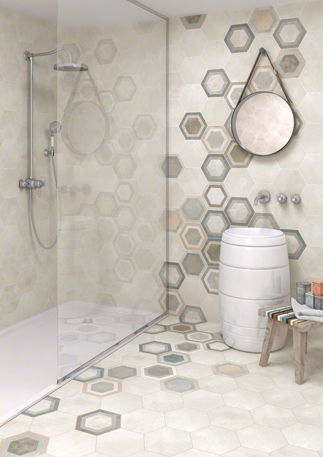 Producto: porcelanico RIFT-R, acabado: cemento, escenario: baños | VIVES Azulejos y Gres S.A.