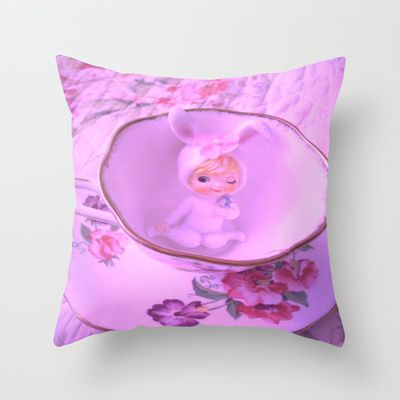 Bunny  Girl in a tea cup Throw Pillow by Vintage  Cuteness - $20.00
