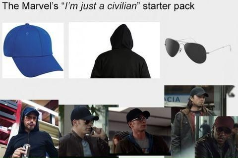 """The """"not-a-superhero"""" starter pack.>>>> so the next time you see someone in sunglasses, a ball cap, and a hood check to see if it's Captain America!"""