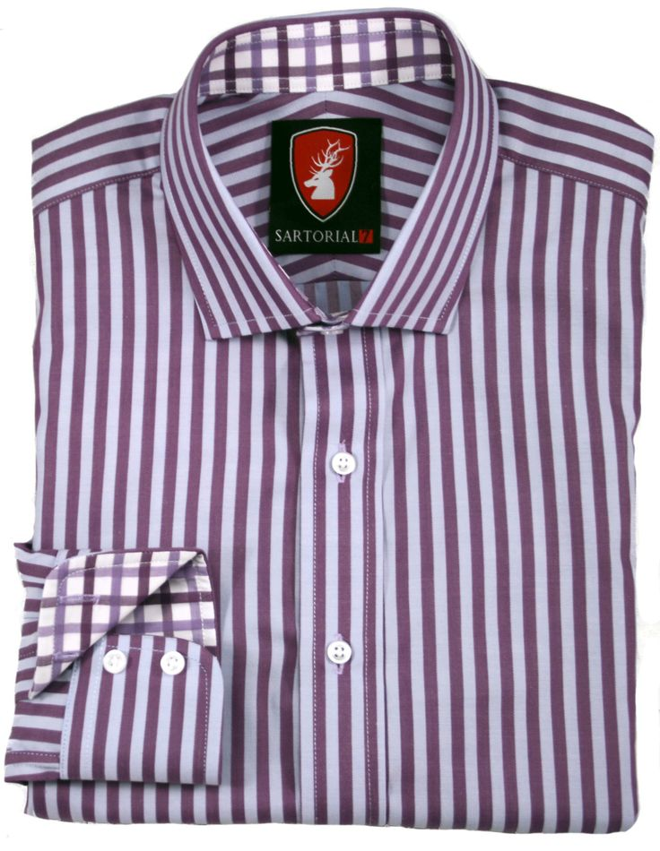 Purple and light blue stripe with purple and white check lining.