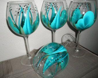 Hand painted Black wine glasses by simplethingsbykathy on Etsy