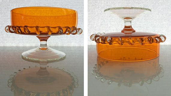 Retro orange pedestal bowl dish with clear stem & foot /