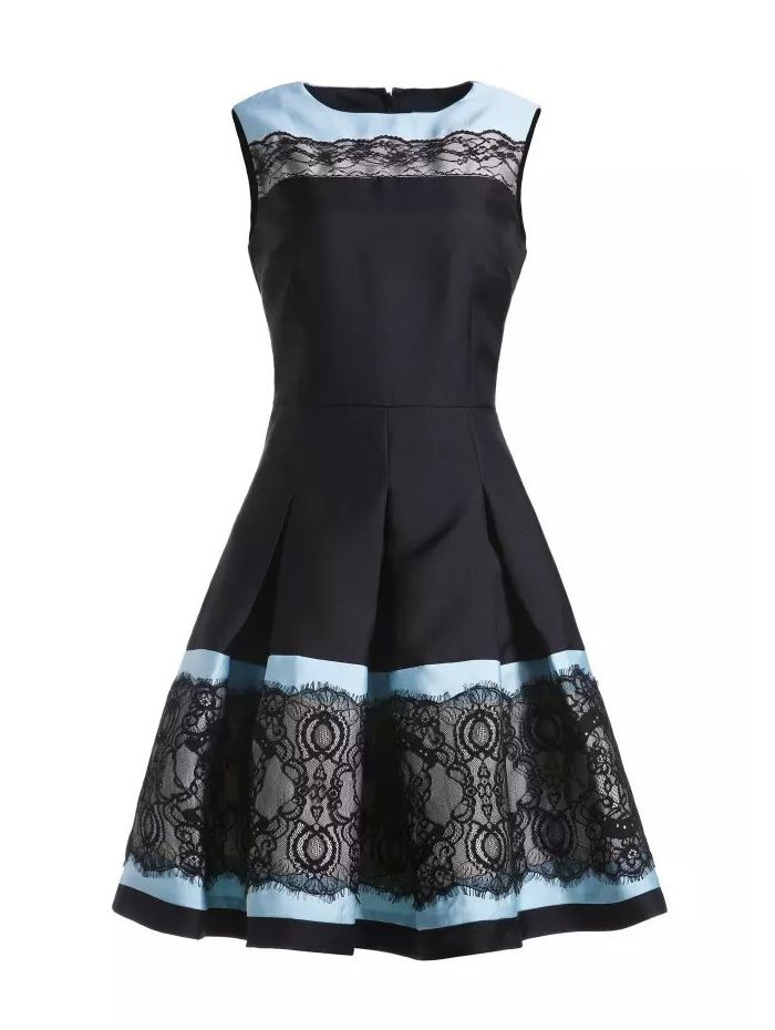 SheIn Sheinside  Lace and   Black online Round Contrast Dresses  Lace uk shop Sleeveless Blue Lace Dress Laces Neck Black