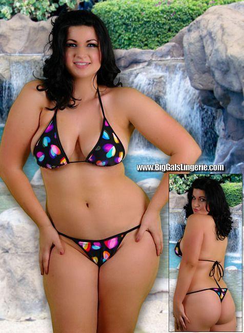 Plus Size Skimpy Thong Back String Bikini Swimsuit