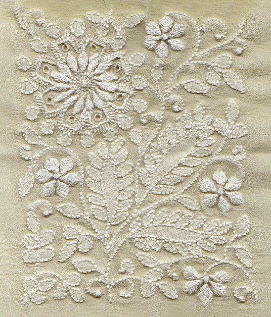 A beautiful floral motif with shadow work of chikankari on georgette - very careful handiwork