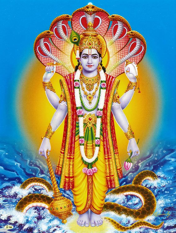 Lord Vishnu (Reprint on Paper - Unframed))