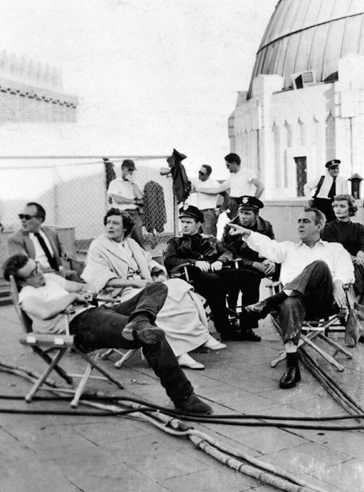 """nicedawg: """" ''Rebel Without A Cause'' cast outside the planetarium (Griffith Observatory, Los Angeles) - James Dean, Ann Doran, Jim Backus """""""