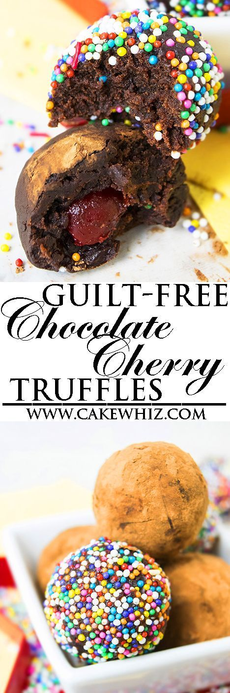 Easy healthy CHOCOLATE TRUFFLES recipe, requiring a few simple ingredients. They are the perfect guilt free dessert or snack. These rich, fudgy and creamy chocolate cherry truffles are a great homemade gift too! {Ad} From http://cakewhiz.com