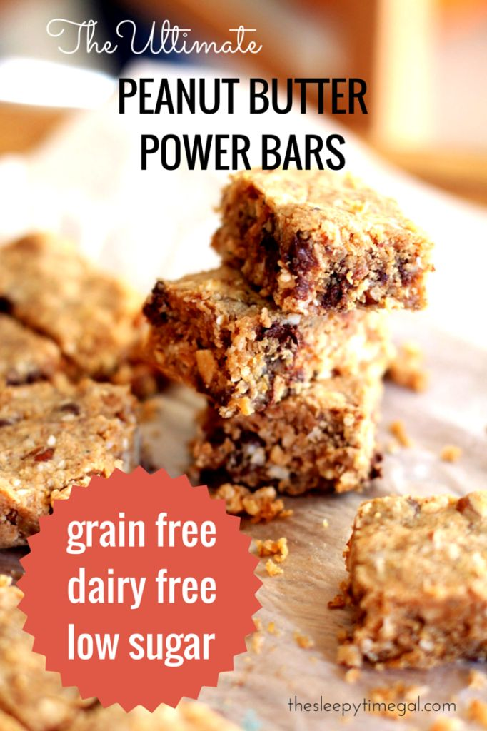 the ultimate peanut butter power bars {grain free, dairy free, low sugar} | The Sleepy Time Gal