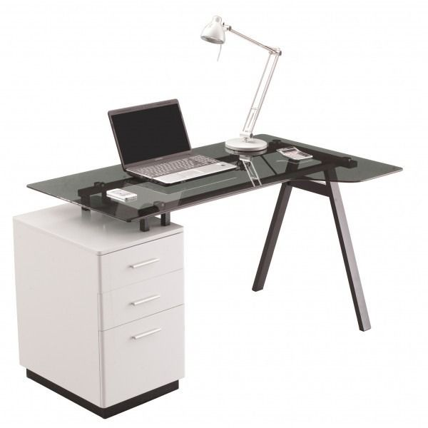 glass desk for office. the all new cleveland 4 glass computer desk includes a smoked grey top thick sturdy frame and white 3 drawer pedestal high gloss cleve for office n