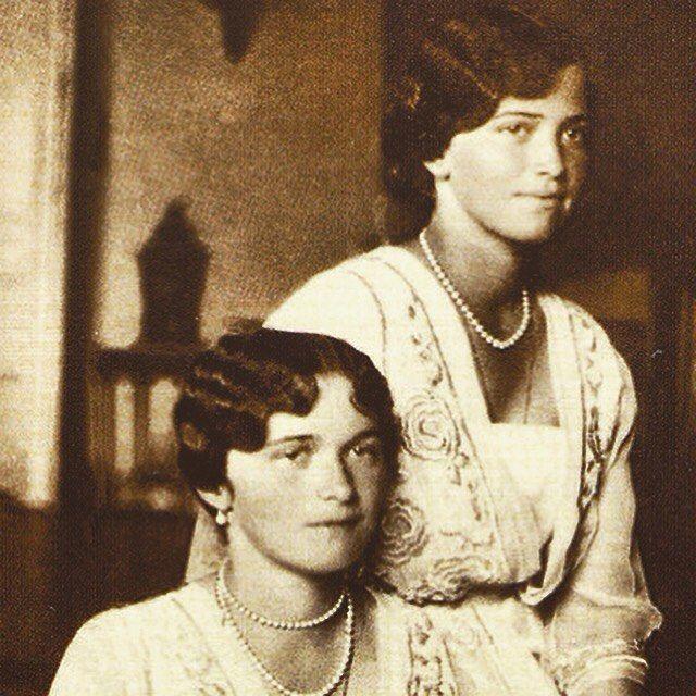 Closeup photo of the Grand Duchesses Olga and Maria Nikolaevna Romanova of…