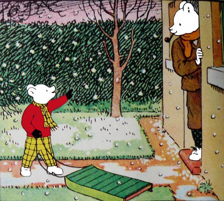 Rupert Bear off for a sleigh ride