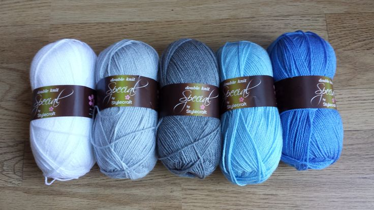 Sky blanket wool - Stylecraft (white, silver, grey, cloud blue and aster) #knitting