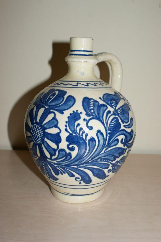 Ulcior ceramic de Corund, traditional pictat cu albastru, 1l