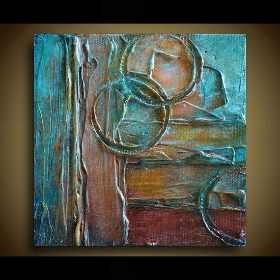 Originele Abstract Schilderij door Marie Bretz - tinten van Turquoise, Brown, roest, gouden Amber geel en wit.   TITEL: CHRONOLOGIE IK  GROOTTE: Één (1) - 5 x 5 x 7/8  MEDIUM: Acryl op Canvas  KLEUREN: Tinten van Turquoise, Brown, roest, gouden Amber geel en wit.  ZIJDEN: Gallery gewikkeld zijden zijn zwart geschilderd. READY komt te hangen.  Elk schilderij is ondertekend op de rug door Marie Bretz  Uw object zal worden verpakt en verzonden met zorg via USPS Priority Mail   OVER DE KUNST...