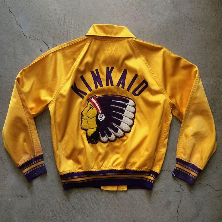 "1950s FabKnit ""Kinkaid"" satin jacket, size S measures 21"