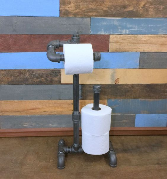 10% OFF Industrial Toilet Paper Holder, Free-Standing, Industrial Bathroom, Industrial Decor, Pipe Decor, Steampunk, Man Cave, Industrial St by TheCleverRaven on Etsy