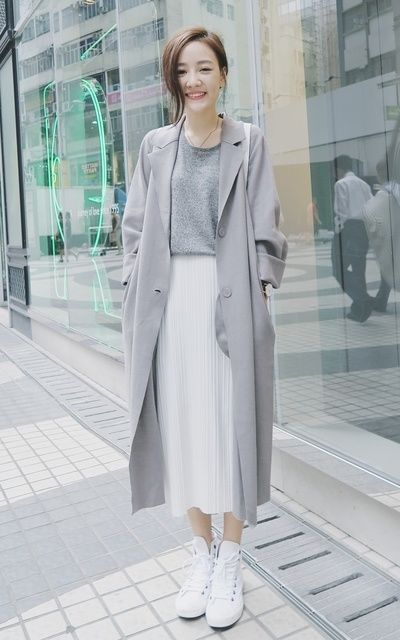 Grey Coat Korean Fashion Outfit                                                                                                                                                                                 More