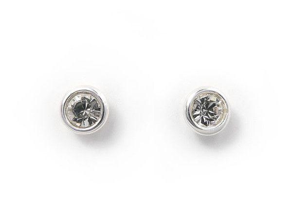 Birthstone Stud Earrings - April Diamond