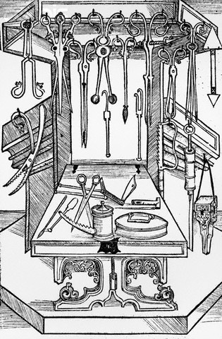 Woodcut Print of Assorted Medieval Medical Tools - SO.... feel good about living in the current time peepers.. this looks like a meat-shop.