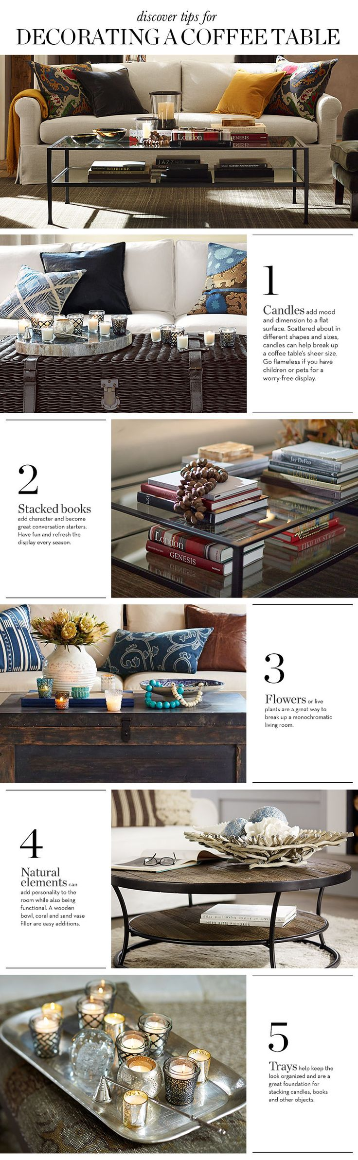 Discover tips for decorating a coffee table.