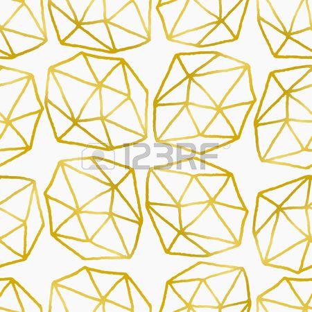 seamless ripetere elegante e alla moda con forme poligonali. Disegno dorato effetto stagnola su sfondo bianco.