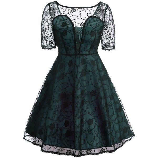 Light Green XL See Thru Lace Vintage Fit and Flare Dress ($16) ❤ liked on Polyvore featuring dresses, vintage day dress, vintage lace dress, vintage fit and flare dresses, blue fit-and-flare dresses and lace fit-and-flare dresses