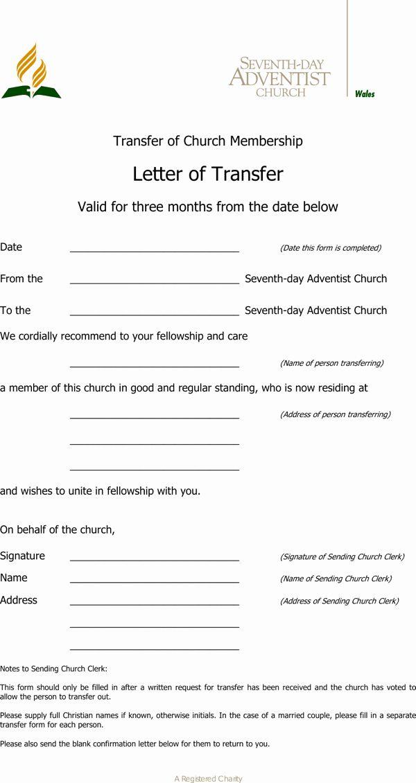Church Membership Transfer Letter Elegant Transfer Letter Template
