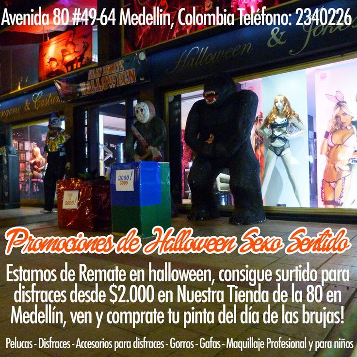 halloween en #medellin !! consigue los remates de sexosentido en #disfraces #gafas #accesorios #halloween #pelucas #zapatos #sombreros divertidos, #maquillaje y mucho mas! desde 2.000 pesos, no te pierdas la locura de precios en la tienda de la 80, y en nuestras sedes fisicas de #sexosentido. Avenida 80 #49-64 Medellin, Colombia Teléfono: 2340226