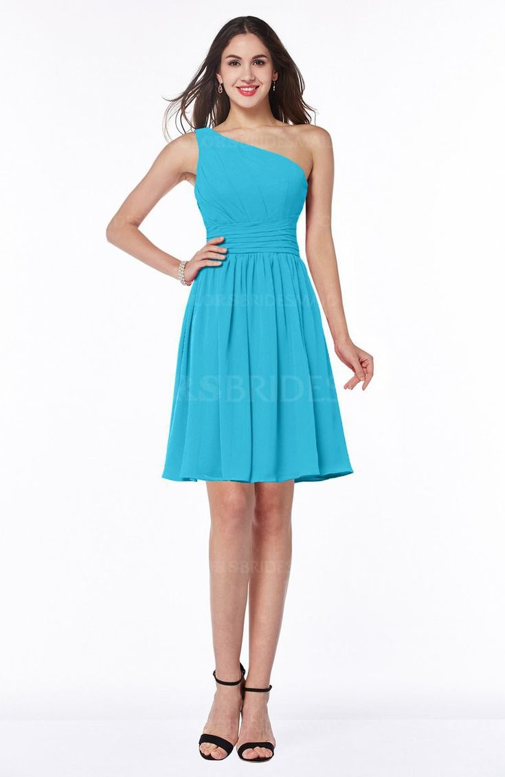 Turquoise Modern A-line Asymmetric Neckline Sleeveless Half Backless Ruching Plus Size Bridesmaid Dresses (Style D79331)