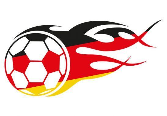 Wandtattoo Fußball mit Flammenschweif schwarz rot gold | wall-art.de
