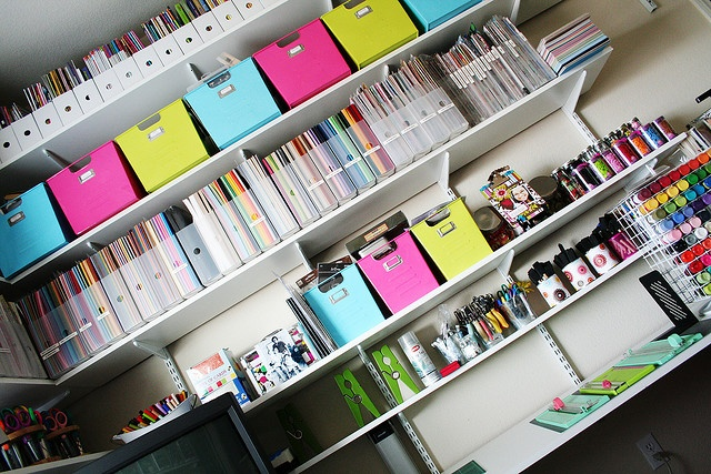 organization - this works because of the unified color scheme and keeping like with like on each self.