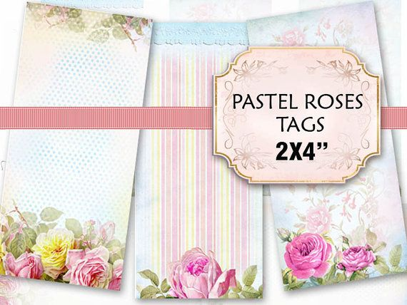 Pastel Roses Digital Printable Label tags 4x2 inch floral romantic Vintage Flowers french cottage Shabby Chic (406)