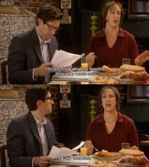 Such fun. Miranda. Three little words. All day breakfast.