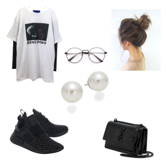 """Untitled #2"" by idaayudevinaputrisuteja ❤ liked on Polyvore featuring Yves Saint Laurent, adidas Originals and AK Anne Klein"