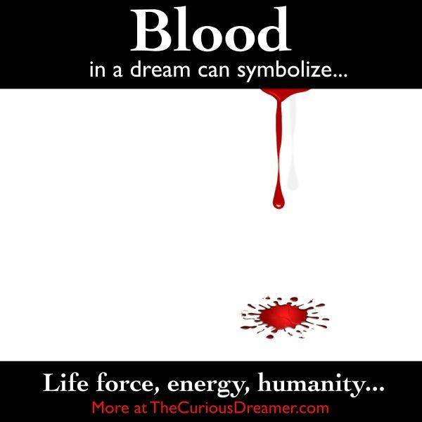 Blood as a dream symbol can mean...  More at TheCuriousDreamer...... #dreammeaning #dreamsymbols