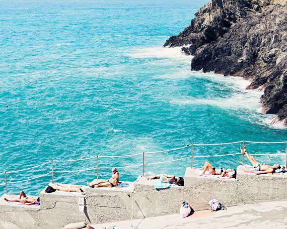 Italy Aerial Beach Photo, Aerial Beach Print, Cinque Terre Print, Cinque Terre Photo, Unique Beach Print, Large Wall Art, Beach Wall Art