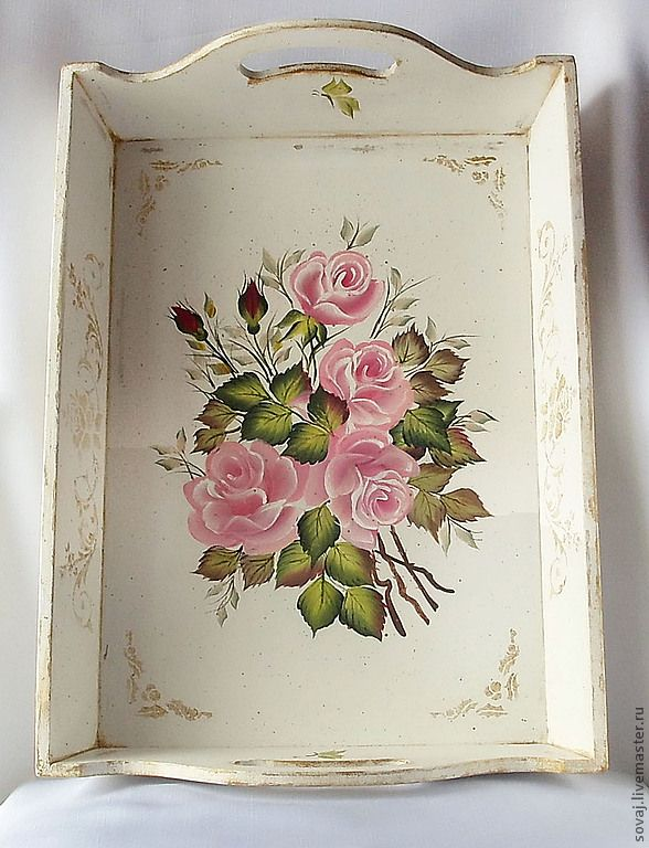 Roses bandeja decorada Decoupage