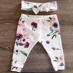 Organic Baby Girl, Onesie®, One Piece, Bodysuit, Leggings, Pants, Headband, Top Knot, Floral, Flower, Modern, Boho, Set, Bundle