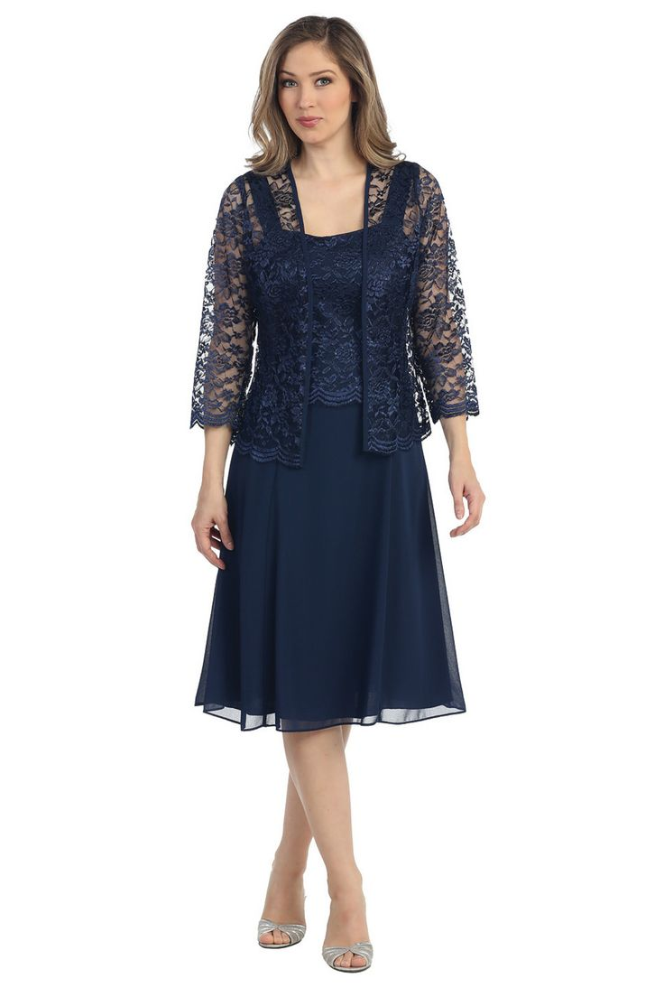 """A long sleeve lace jacket really make this dress beautiful. The top of the dress is lace and the skirt is a solid knee length .Available in plus size Neckline : Scoop Waistline : Natural Length : 44"""""""