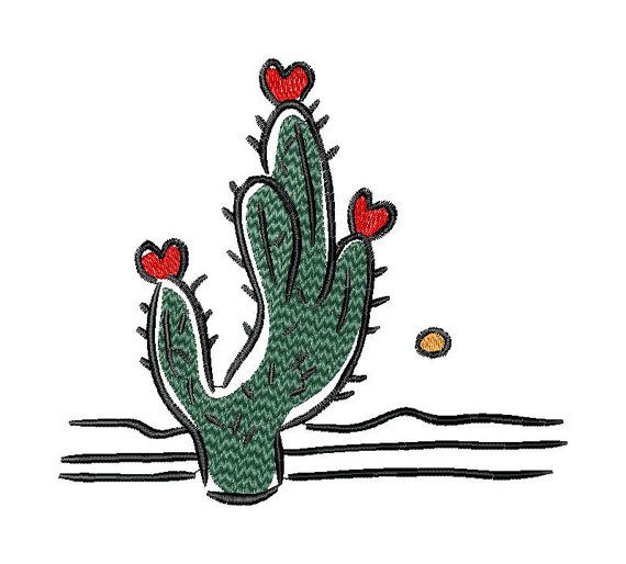Heart, love, Valentine, cactus, machine embroidery design